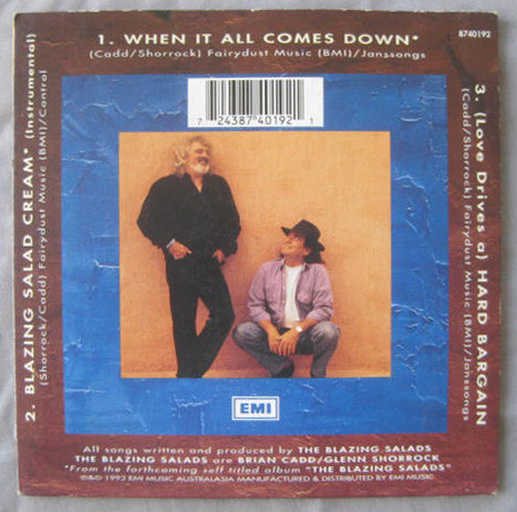 Blazing Salads - When It All Comes Down Rear Cover