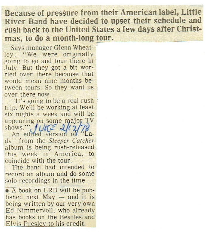 Little River Band's Rushed Trip To America