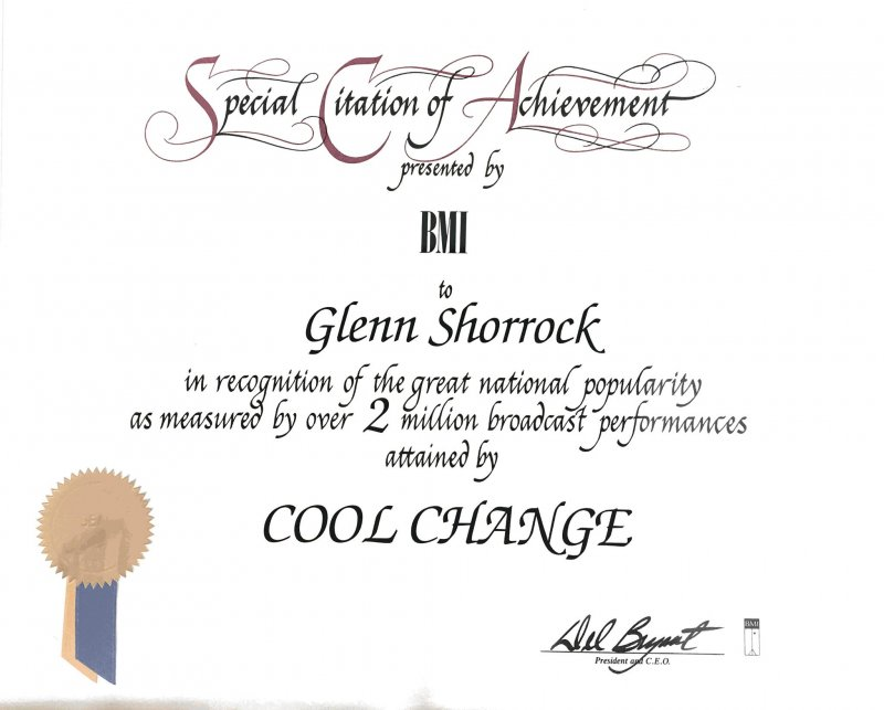Glenn Shorrock's 2 Million BMI Award For 'Cool Change'