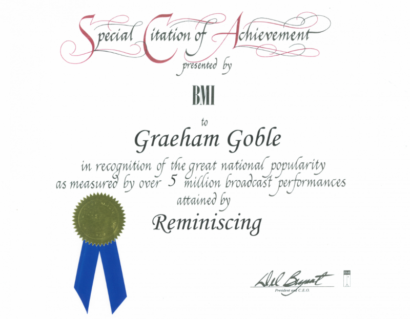 Graeham Goble's BMI AWARD - Reminiscing (Five Million Plays on American Radio)